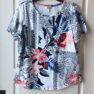 Tops - Women's Floral Print Pullover Stretch Knit Top PXL
